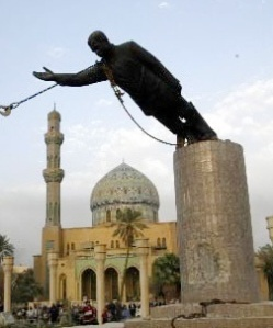 Statue of Saddam being toppled in Firdos Square after the US invasion